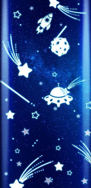 Обои на телефон дети, синие, нло, милые, космос, звезды, блестящие, space4children