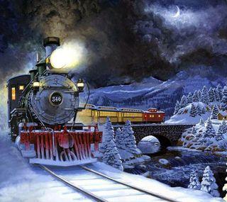 Обои на телефон страна чудес, поезда, природа, зима, train in wonderland
