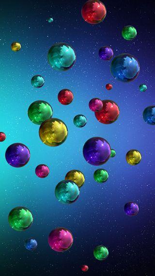 Обои на телефон flying balls, красочные, фон, шары, летать, металлические, полет