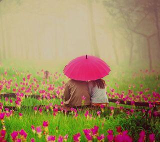 Обои на телефон амбрелла, цветы, пара, любовь, дождь, love, couple with umbrella