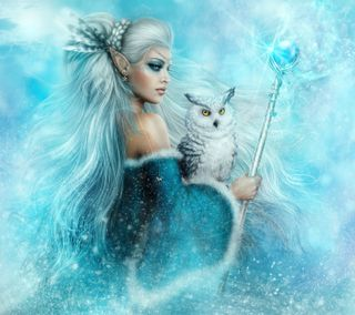 Обои на телефон эльф, сова, магия, фантазия, синие