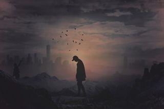 Обои на телефон изображения, черные, темные, птицы, ночь, мальчик, горы, вместе, белые, арт, he wallpaper