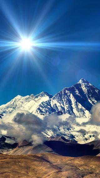 Обои на телефон солнечный свет, природа, горы, 1080p