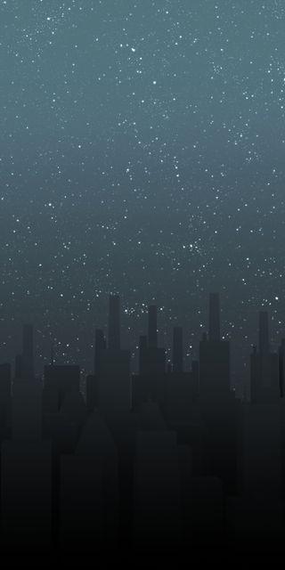 Обои на телефон фантастика, тьма, фантазия, ночь, небоскребы, здания, звезды, дизайн, город, горизонт, tallrice, skyline