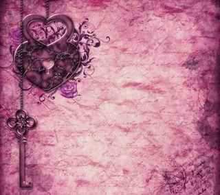 Обои на телефон ключ, фиолетовые, сердце, романтика, любовь, винтаж, бумага, арт, love, art