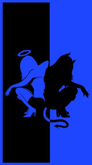 Обои на телефон дьявол, черные, фигура, синие, силуэт, крыло, девушки, ангел, devil & angel blue, Kor4@rts, Devil