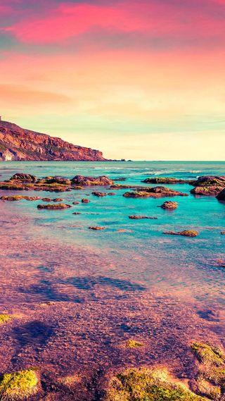 Обои на телефон берег, радуга, природа, песок, океан, море, камни, reef, hd, corals