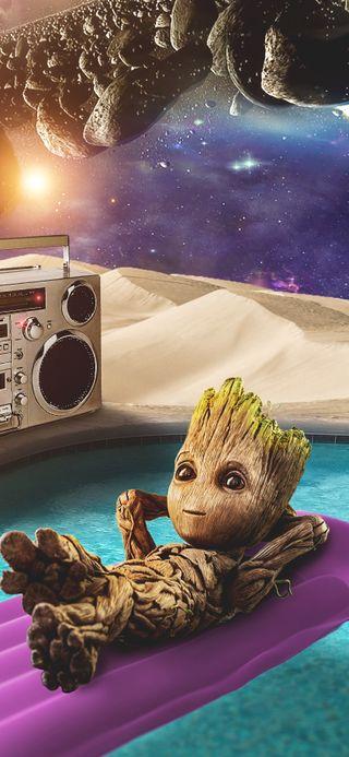 Обои на телефон стражи, пляж, марвел, лето, космос, комиксы, забавные, грут, галактика, sci-fi, marvel
