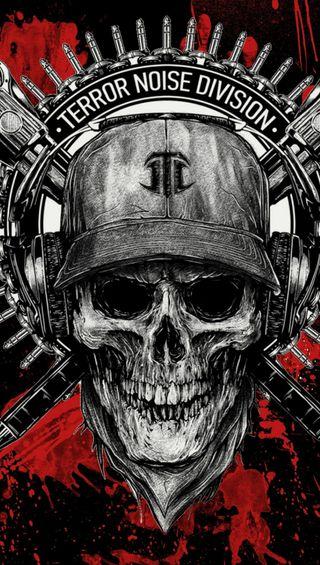 Обои на телефон череп, музыка, кровь