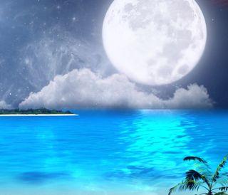 Обои на телефон пляж, природа, луна