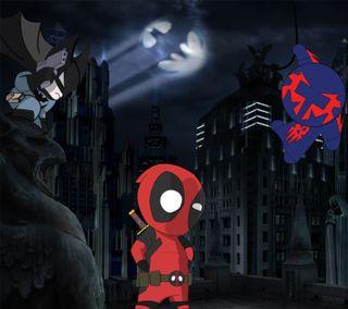 Обои на телефон паучок, дэдпул, бэтмен, deadpool crossover