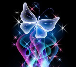Обои на телефон светящиеся, бабочки, неоновые