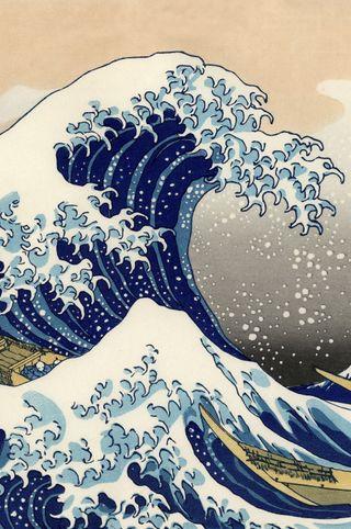 Обои на телефон великий, японские, волна, вода, арт, woodblock, hokusai, art