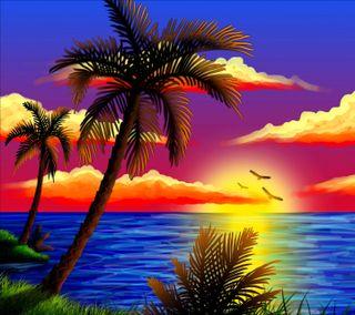 Обои на телефон пальмы, море, закат, tropic