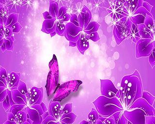 Обои на телефон цветочные, цветы, фиолетовые, сияние, бабочки, purple floral shine