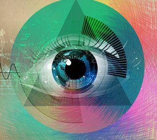 Обои на телефон геометрические, цветные, треугольник, глаза, абстрактные