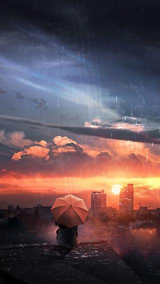 Обои на телефон утро, солнце, космос, звезда, дождь, город, good