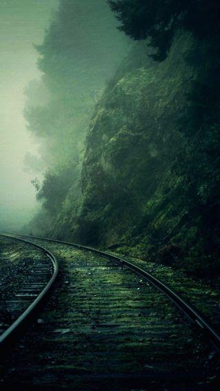 Обои на телефон утес, пути, поезда, темные, tracks cliff, dark train, dark tracks