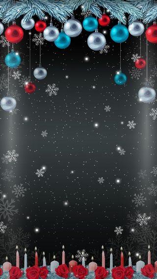 Обои на телефон свечи, фон, снежинки, снег, серые, рождество, грани, безделушки