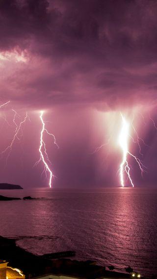 Обои на телефон шторм, пляж