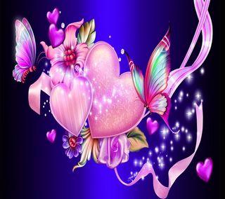 Обои на телефон сияние, сердце, прекрасные, любовь, красочные, бабочки, абстрактные, love