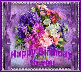 Обои на телефон день рождения, цветы, фиолетовые, счастливые, прекрасные, пожелания, happy