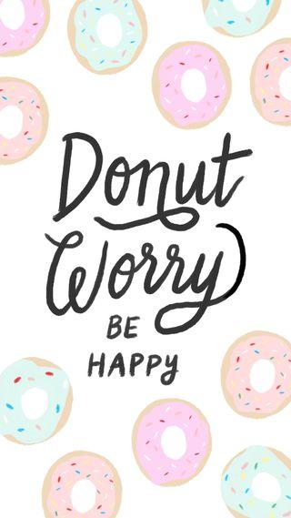 Обои на телефон эстетические, цитата, счастливые, пончик, поговорка, пастельные, милые, забавные, tumblr, happy, donutworry