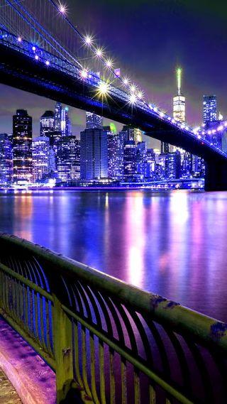 Обои на телефон мост, огни, ночь, новый, город, manhatten