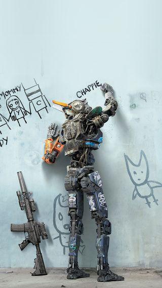 Обои на телефон граффити, стена, робот, оружие, дизайн, charpi