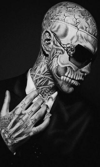 Обои на телефон модели, рик, мальчик, зомби, знаменитость, zombie boy, skeletal tattoos, rick genest, model celebrity