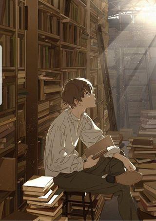 Обои на телефон мальчик, солнце, книги, аниме, reading, library