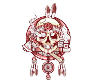 Обои на телефон графика, череп, индийские, indian skull