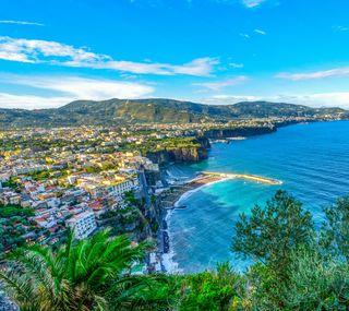 Обои на телефон берег, океан, море, италия, деревья, amalfi