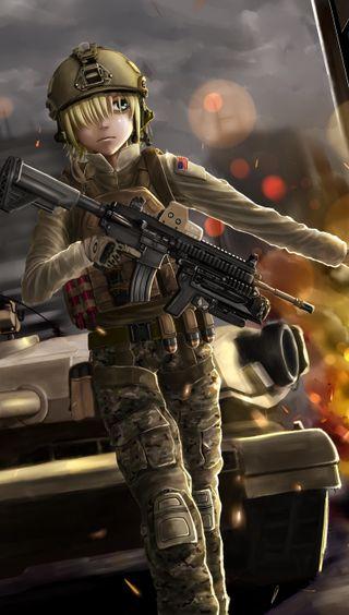 Обои на телефон солдат, девушки, аниме