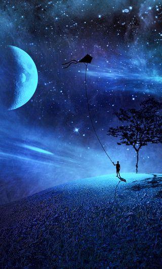 Обои на телефон фантазия, темные, синие, одиночество, ночь, мальчик, луна, космос, звезды, дерево, fantasy night, fancy, blue night