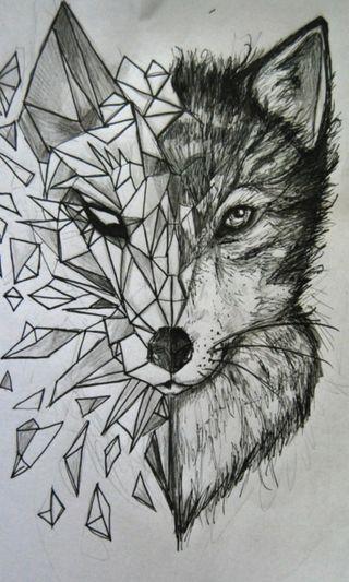 Обои на телефон weite, polygon wolf, черные, волк, собаки, тату, многоугольник