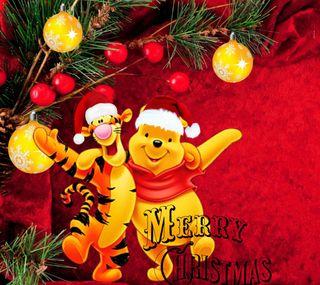 Обои на телефон пух, счастливое, рождество, дисней, винни, winnie pooh