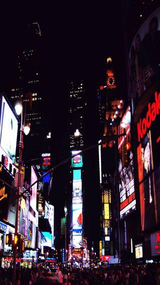 Обои на телефон нью йорк, квадратные, ночь, жизнь, город, times square nyc, downtown, city life, ads