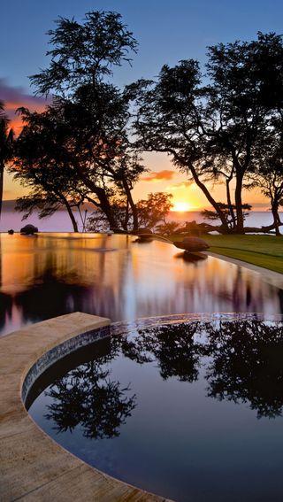 Обои на телефон романтика, природа, праздник, место, закат, romantic place, pool