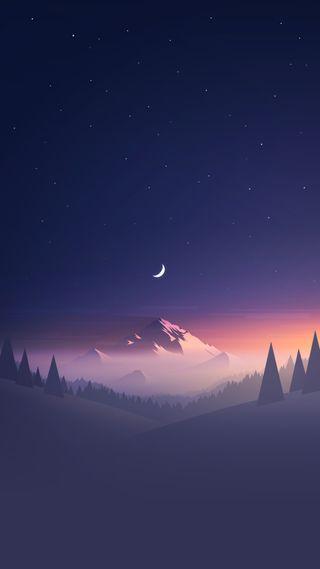 Обои на телефон сосна, деревья, дерево, снег, луна, закат, горы, pine tree