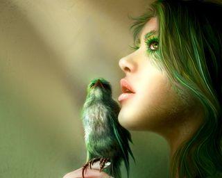 Обои на телефон скины, перья, птицы, лицо, зеленые, девушки, губы, глаза