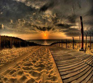 Обои на телефон вечер, путь, прекрасные, пляж, песок, пейзаж, золотые, закат, деревянные, вид, wooden path hd