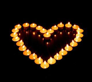 Обои на телефон сердце, свеча, свет, hd