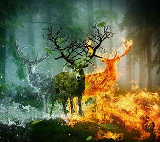 Обои на телефон элементы, погода, олень, лес, животные, elemental deer
