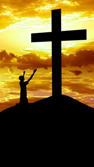 Обои на телефон силуэт, христос, облака, мужчина, молитва, крест, исус