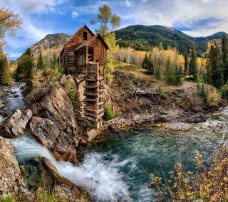 Обои на телефон ручей, деревянные, река, лес, здания, домик, river cabin