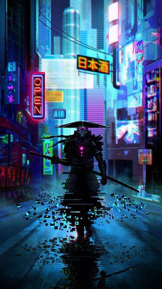 Обои на телефон самурай, катана, ночь
