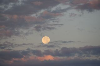 Обои на телефон пастельные, эстетические, утро, супер, природа, облака, небо, луна, восход, supermoon at sunrise, super moon