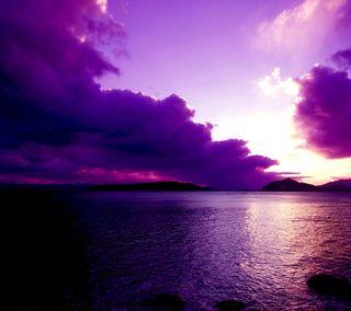 Обои на телефон река, фиолетовые, природа, облака, небо
