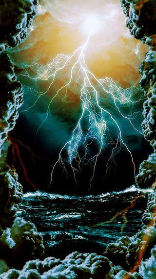 Обои на телефон шторм, удар, темные, гром, волна